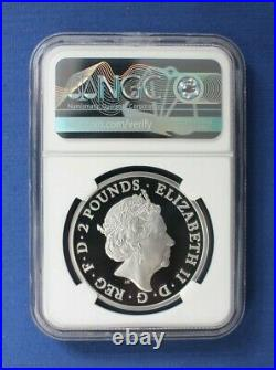 2021 Royal Mint 1oz Silver Proof Britannia £2 coin NGC Graded PF70 with Case/COA