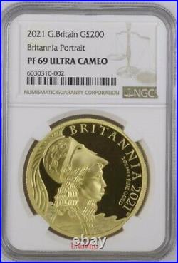 2021 Royal Mint UK Gold Proof 2oz Britannia Premium £200 NGC PF69 Two Ounce
