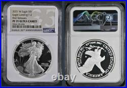 2021 Silver Eagle Type 2 PF70 NGC, Ult Cam, W Mint, First Release withOGP in hand