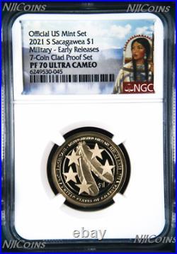 2021 US Mint Proof 7-Coin-SET Dime Half Penny Nickel Quarter Dollar NGC PF70 ER