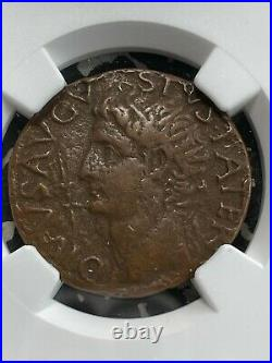 (27 BC- 14 AD) Ancient Rome Augustus Under Tiberius AE As NGC VF Lot#G1045