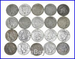 5 Rolls 100 Coins $1 CULL 1922-1935 PEACE US Silver Dollars Eagle 90% Bulk Lot