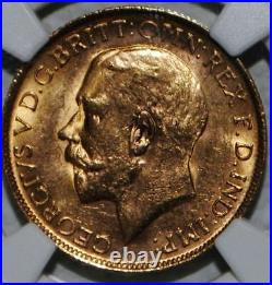 AUSTRALIA 1918 P GOLD COIN SOVEREIGN NGC MS63 BU Uncirculated Perth Mint