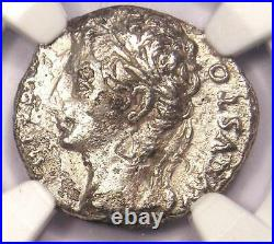 Augustus AR Denarius Coin 27 BC 14 AD, Spanish Mint Certified NGC VG