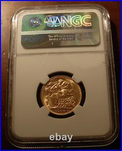 Australia 1907M Gold Sovereign NGC MS63 Melbourne Mint