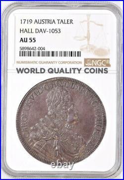 Austria 1719 Silver Coin Thaler Karl Charles VI Hall Mint NGC AU55