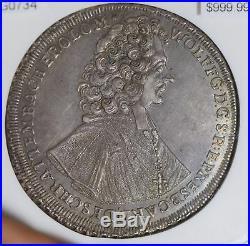 Austria 1722 Taler AU58 thaler olmutz Dav-1218 rare mint luster only 2 higher
