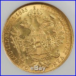 Austria 1855 A 1 Ducat/Dukat Gold Coin NGC MS63 KM#2263 Vienna Mint Top Grade
