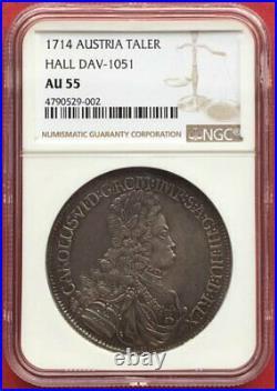 Austria, Karl VI 1714 Taler Thaler Hall Mint Ngc Au 55, Xxxrare