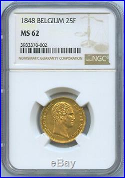 Belgium Leopold I 25 Francs Gold 1848 Brussels Mint NGC MS62 KM-13.1