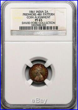 British India 1861 Two Anna Silver Pattern Royal Mint Coin Aligned NGC PF65 Rare