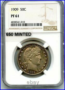C11855- 1909 Proof Barber Half Dollar Ngc Pr61 650 Minted