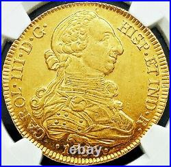 Chile 1786 So DA GOLD 8 ESCUDOS NGC MINT STATE 61 KEY DATE VERY RARE