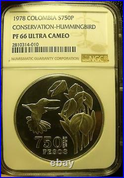 Colombia 1978 750 PesosConservationHummingbirdNGC Proof-66 UC3,100 MintedFS