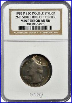 ER121 1983-P-Double Struck, Second Strike 80% Off Center- Mint Error NGC AU58