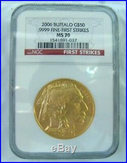 GEM 2006 $50 1 oz GOLD COIN AMERICAN BUFFALO NGC MS 70 FIRST STRIKE US MINT BOX