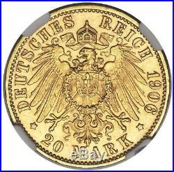 Germany Bremen 1906 J 20 Mark Gold Coin NGC MS63 Hamburg Mint KM252 BU Scarce