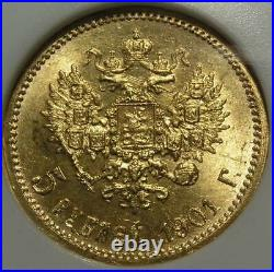 Gold 5 Roubles 5 Rubles 1902 Certified By Ngc Ms-65 Mint State Gold Russian Coin
