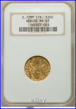 Gold Zecchino Venice Italy Penultimate Doge Paolo Renier 1779-89 NGC MS63 MINT
