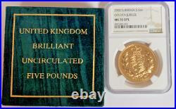 Great Britain 2002 Gold 5 Pounds Sovereign Elizabeth II NGC MS70 DPL Mint-1,370