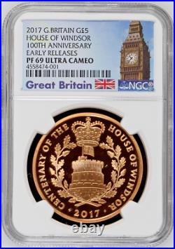Great Britain 2017 Gold 5 Pounds Elizabeth II House of Windsor NGC PF69 Mint-523