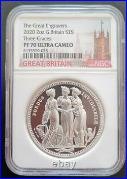 Great Engravers 2020 Royal Mint Three Graces Two Ounce Silver Proof NGC PF70UC