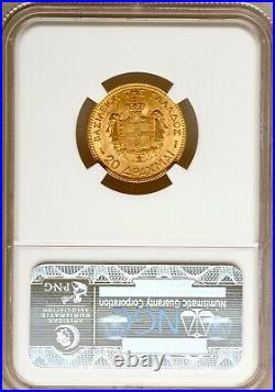 Greece, 1884 20 Drachmai 5.25 Grams gold coin George I NGC MS (Mint State)