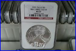 Lot 20 2006 AMERICAN SILVER EAGLE Coins NGC FIRST STRIKES Graded MS69 Slab #1-20