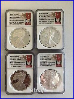 Lot Of 4 2020 W End Of WWII 75th Anniversary American Eagle NGC PF70 In Hand V75