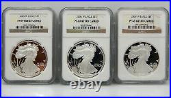 Lot of 13, Proof American Silver Eagles, 2002 to 2015 NGC Graded PF69 UCAM