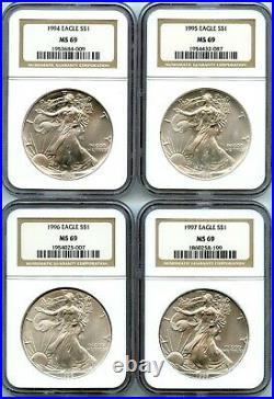 Lot of (20) 1986-2005 American Silver Eagle 1 oz Set NGC MS69