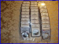 Lot of 28 Silver Eagles 1986 2013 PCGS and NGC MS69