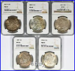 Lot of 5 Different Date Morgan Silver Dollars $1 NGC MS64 Toned