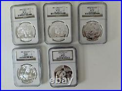 Lot of Five 5 China Panda Silver 1 Ounce coins NGC MS69 2005 thru 2011