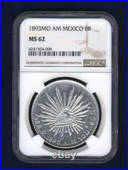MEXICO REPUBLIC MEXICO CITY MINT 1893-MoAM 8 REALES COIN, CERTIFIED NGC MS62