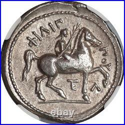 Macedonian Kingdom Philip II (359-336 BC) AR Tetradrachm Amphipolis mint NGC AU
