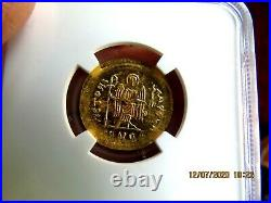 Maurice Tiberius Byzantine Empire Ancient Gold Av Solidus NGC MINT STATE 5/5 3/5