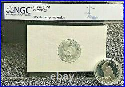 Mint Die Set Up Test Strike On Shim Paper 1984-s Olympic $1 Silver Commemorative