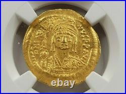 NGC AU Justin II AV Solidus. 565-578 AD. Constantinople or Alexandria Mint
