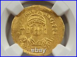NGC AU Justinian I the Great AV Solidus. 527-565 AD. Constantinople Mint