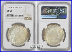 NGC Chile 1882 Un Peso Silver Coin Mint Lustre MS64