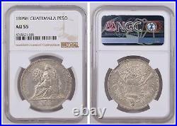 NGC Guatemala 1895 H Heaton Mint Un Peso Seated Liberty Silver Coin AU55