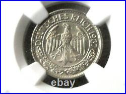 NGC MS-65 NAZI GERMANY 3rd-REICH 1937-A 50 ReichsPfennig COIN Very RARE MINT