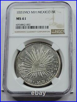 NGC MS61 Mexican Republic AR 8 Reales. 1881. Mexico City Mint