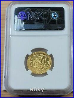 NGC Mint State 3/5, 2/5. Justinian I The Great AV Solidus. AD 527-565
