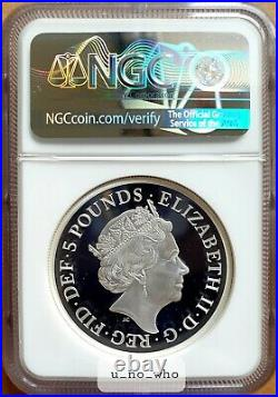 NGC PF70 2019 Royal Mint UK Silver Proof 2oz Una And The Lion Two Ounce Graded