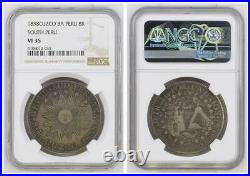 NGC South Peru 1838 8 Reales C MS Cuzco Mint Silver Coin Nice Toned Scarce VF35