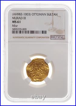 OTTOMAN EMPIRE. Murad III, AH 982-1003. Gold Sultan, Misr mint, NGC MS61