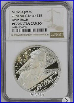 Royal Mint 2020 David Bowie Silver Proof 2oz Coin NGC PF70 UC Music Legends