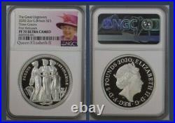 Royal Mint Great Engraver's Series Three Graces 2oz Silver Proof £5 NGC 2020